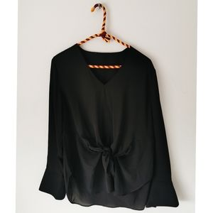 Black Long Sleeve Tie-front Blouse